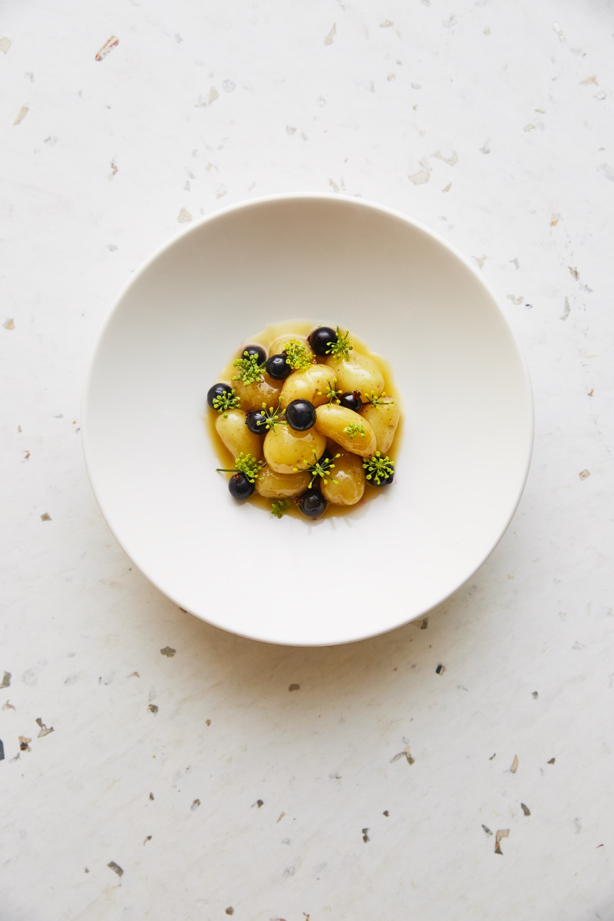 Linzer potatoes, blackberries and fennel flower.  Photo by   Kim Lightbody