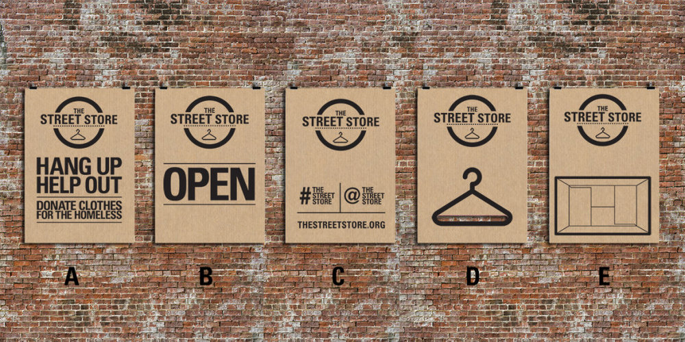 Once the event has ended and all items of clothing have been taken, the cardboard posters are collected and recycled, leaving no trace of The Street Store.