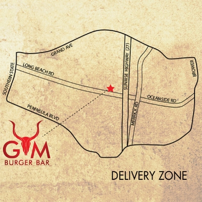 Photo of a map of Rockville Centre identifying our delivery zone