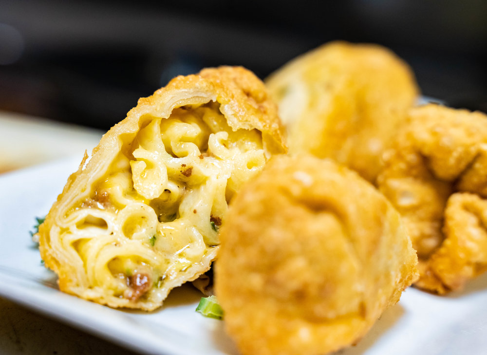 Photo of our Mac and Cheese egg rolls