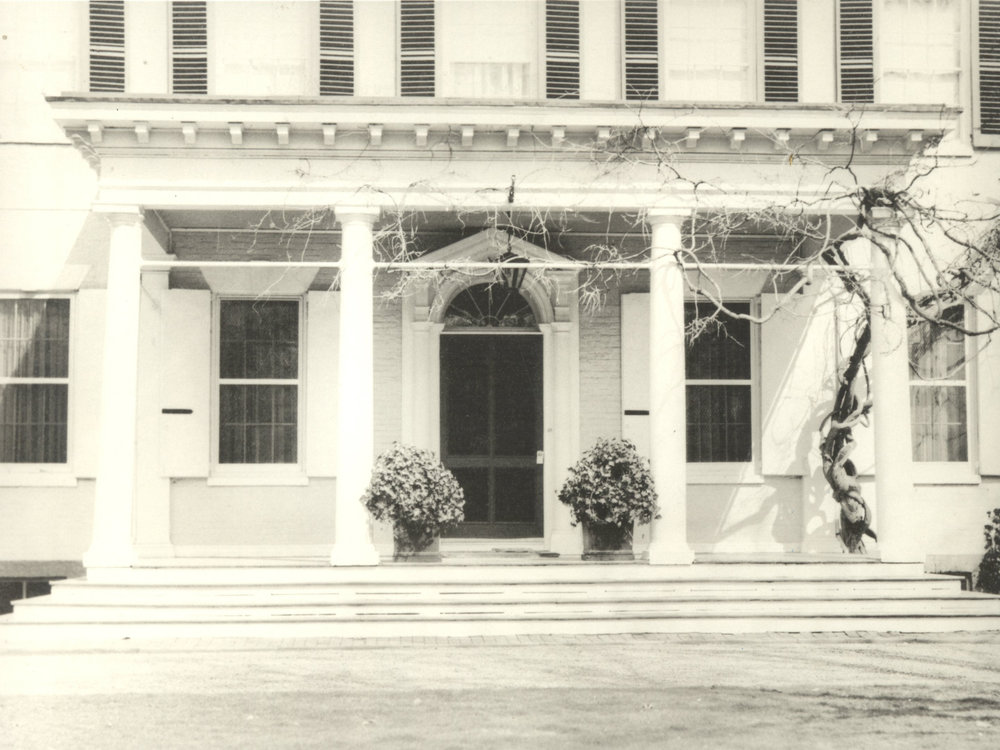 Morven Portico, c. 1957. Morven Archive, courtesy of New Jersey State Archives, Department of State.