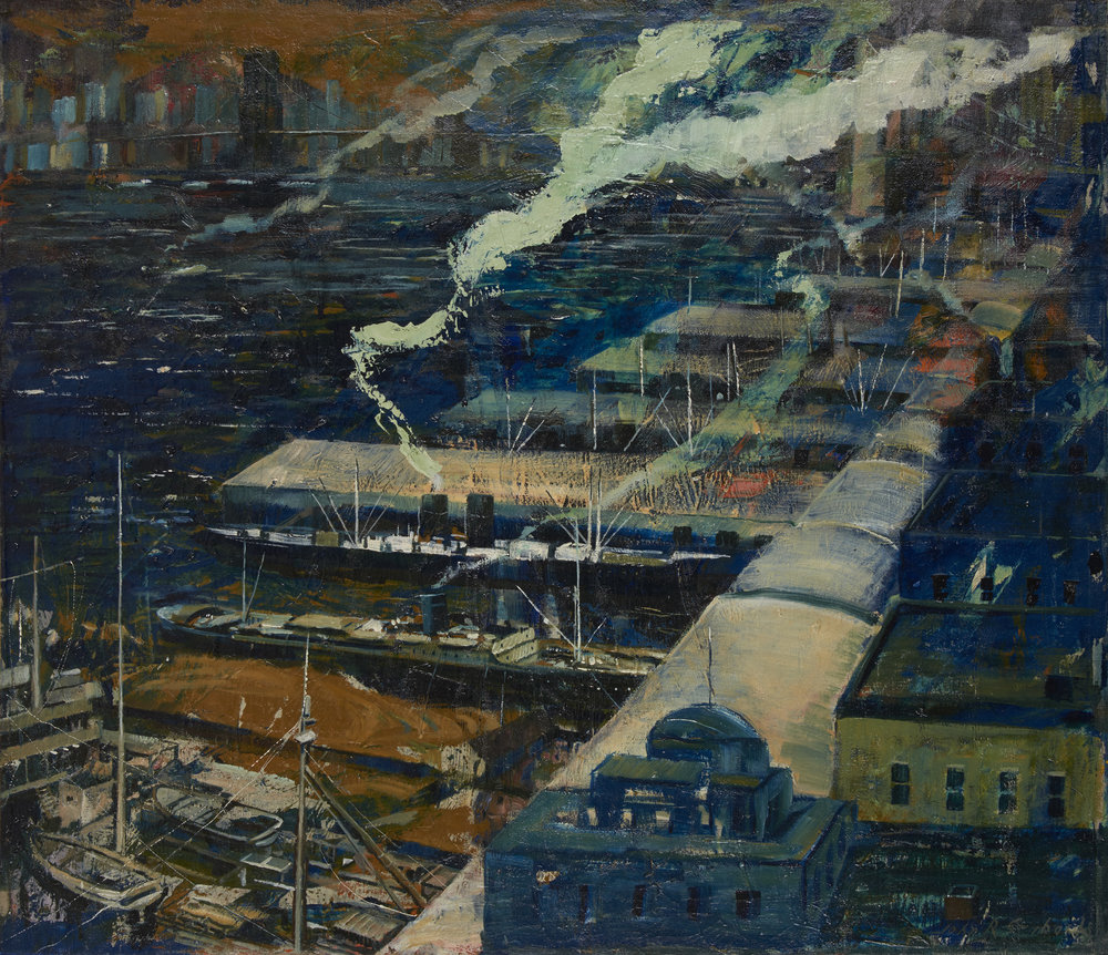 Ships, Piers and Smoke, 1941,  John  R.  Grabach  (1886  -  1981)_80%1.jpg