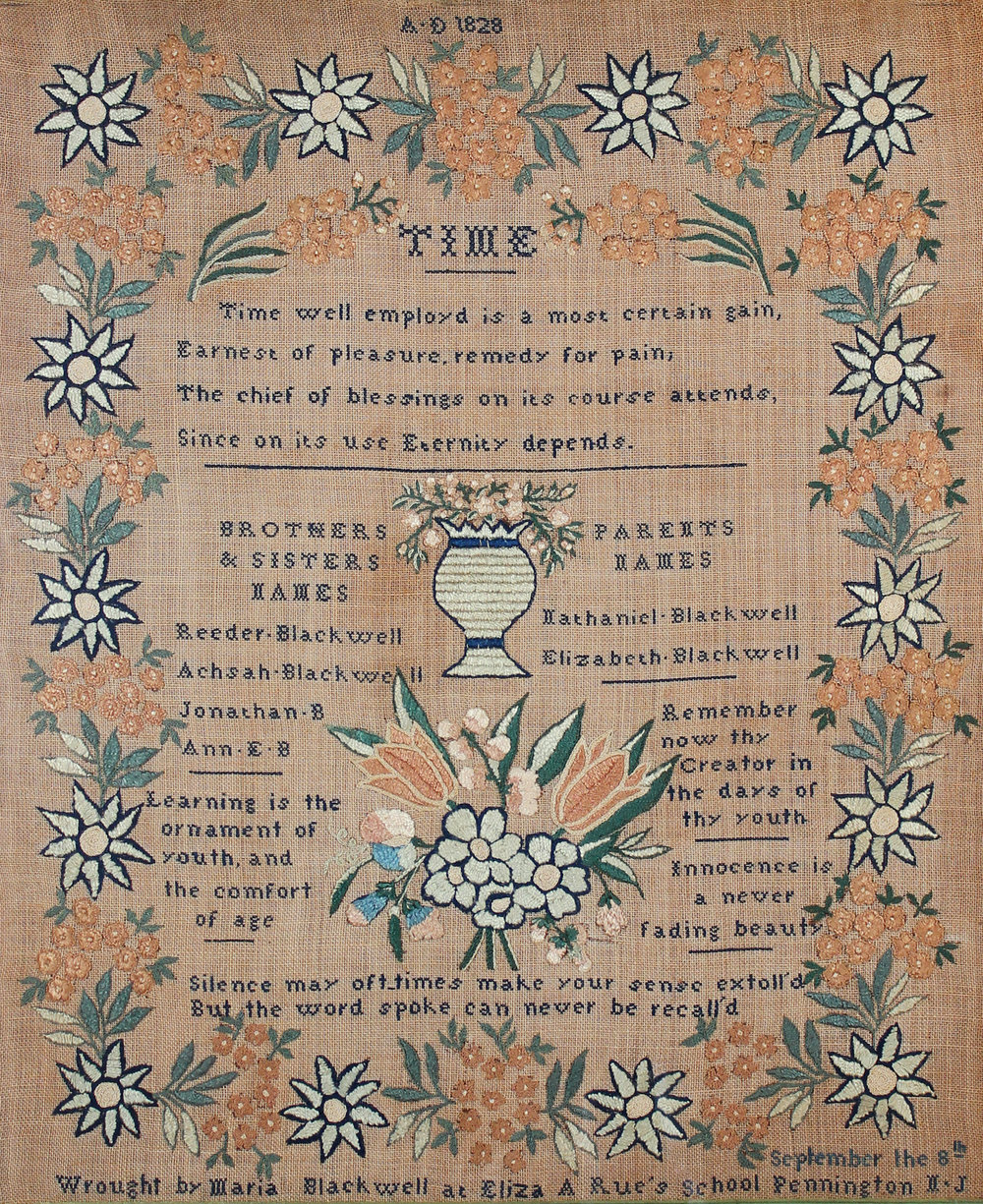 Image Credit: Needlework by Maria Blackwell, Hopewell Township, New Jersey, 1828. Deborah (Shellenberger) Niederer & Randy Niederer.
