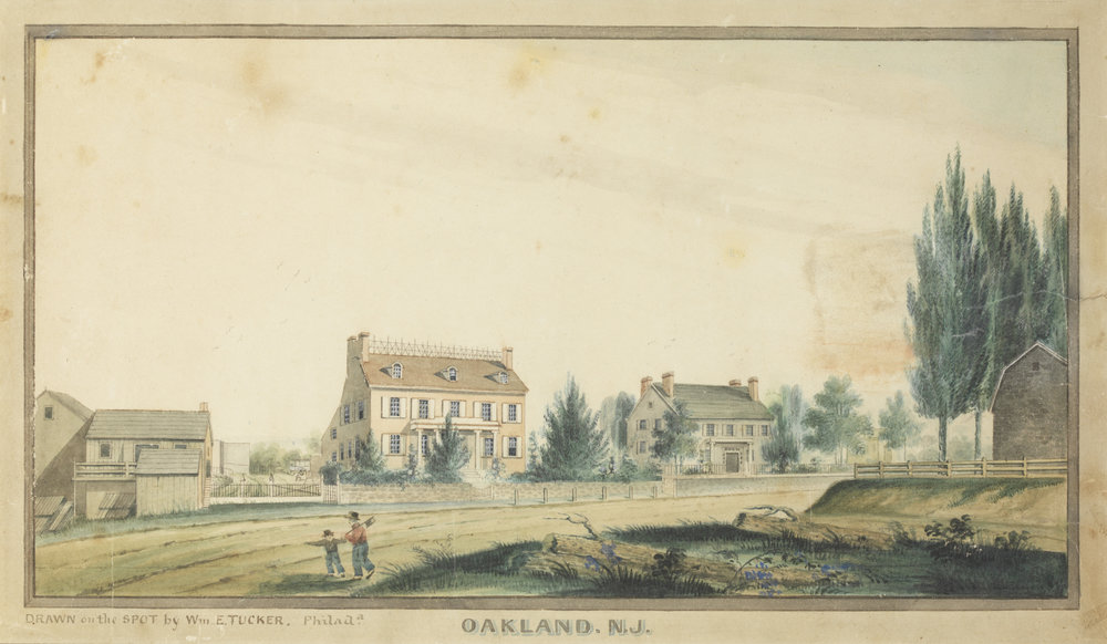 "Image Credit: Oakland, N.J. Between 1836 and 1848 ARTIST William E. Tucker (signed lower left, ""Drawn on the spot by Wm. E. Tucker, Philada.""). Pen and ink, and watercolor, on paper. 8 x 13½ in."