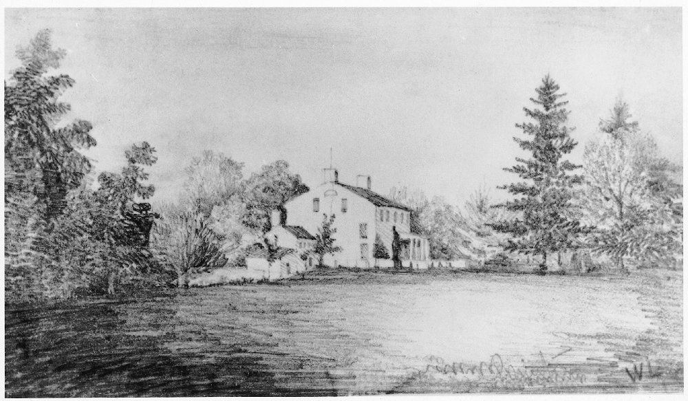View of Morven from the Southwest , signed W. L., dated 1840. Historical Society of Princeton.
