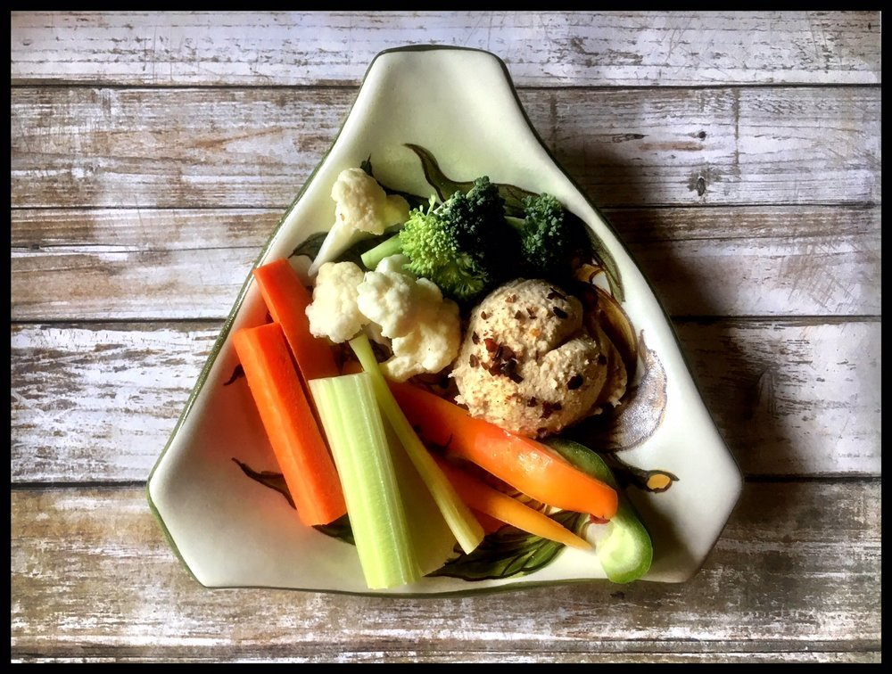 Homemade hummus and cut up veggies — some from my garden! — is one of my favorite healthy snacks.