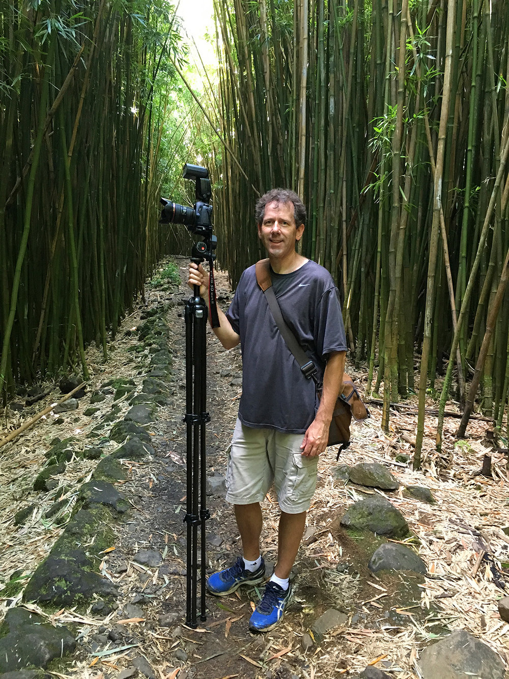 Kelley hiking through the bamboo forest near Hana, Maui.