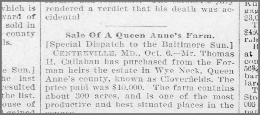 An announcement clipped by Sherri Marsh Johns from the October 7, 1897 edition of the baltimore sun.