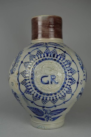 figure 3. westerwald stoneware jug with gr medallion (1714-1760). image courtesy of the british museum, online catalog, museum no 1981,1002.33, an1613139899.
