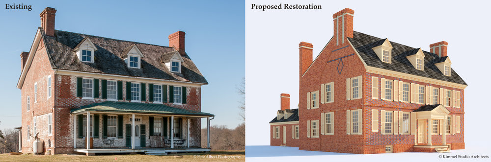 """North-east view of Cloverfields. / left (""""Existing""""): Photograph: Pete Albert, 2018. / Right (""""Proposed Restoration""""): 3D conceptual rendering """"cloverfields c. 1784 (north-east),"""" by Kimmel Studio architects, 2018. note, Rendering is still preliminary and is subject to change."""