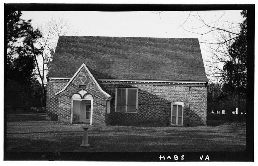 "Yeocomico Church  (1706) / Photo credit:  "" Yeocomico Church, State Route 606, Tucker Hill, Westmoreland County, VA,"" Historic American Buildings Survey (habs)."