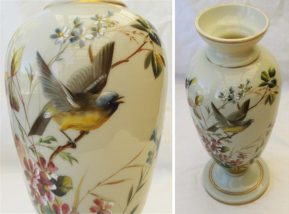 figure 2. glass vase with enamel painted bird attributed to harrach. privately owned, images from collectors weekly online.