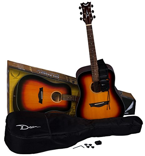 Acoustic Guitar and Guitar Lesson Package $250(reg $309) - 1. Acoustic Guitar pack The Dean AXS Prodigy Acoustic Guitar Package offers both style and value at an affordable price! This guitar provides gorgeous looks and a well balanced sound thanks to its Spruce top and Mahogany body, which also features a smooth cutaway for easy access to high notes. The set mahogany neck has a comfortable C shape. Also features a rosewood fingerboard, pearl dot inlays, and black-chrome hardware. Get your wings today! Guitar comes with tuner, picks strap and case.2. One Month of 30 minute One-on-One private  Guitar lessons