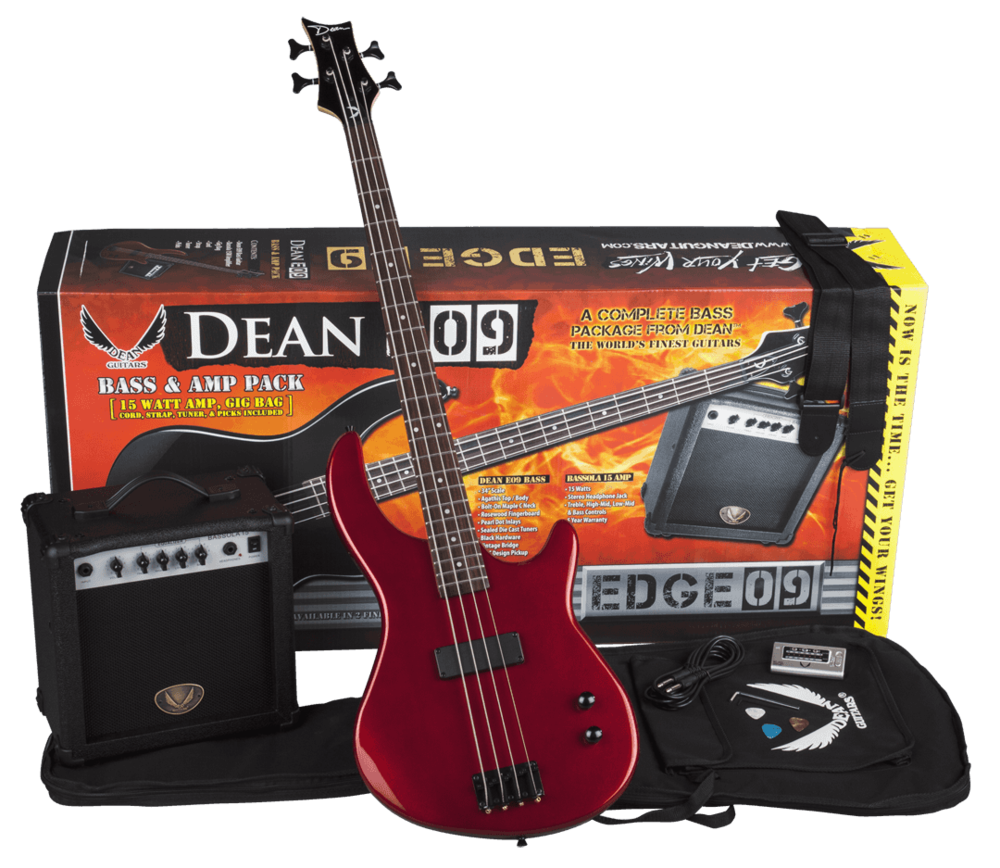 Electric Bass and Bass Lesson Package $349 (reg $409) - 1. Dean  Edge 09 Bass and Amp PackageThe Dean Edge 09 Bass and Amp Pack includes the Dean Edge 09 Bass Guitar, Dean Bassola 10 Bass Amp, gig bag, tuner, cord, strap, and picks.The Dean Edge 09 bass is a sharp-looking and playable instrument with a basswood body, maple neck, 22-fret fretboard with abalone dot inlays, single soapbar pickup, chrome hardware, and die-cast tuners.The Bassola 10 Bass Amp is a compact 10W amp with one 8