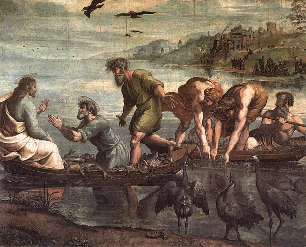 The Miraculous Draught of Fishes, by  Raphael , 1515