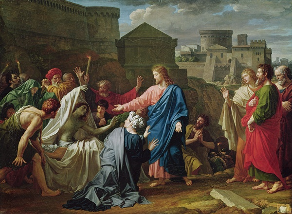 Jesus Resurrecting the Son of the Widow of Naim (oil on canvas) by Bouillon, Pierre (1776-1831)