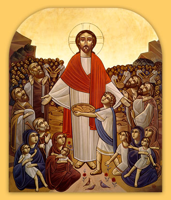 Christ feeding the multitude (Coptic icon)
