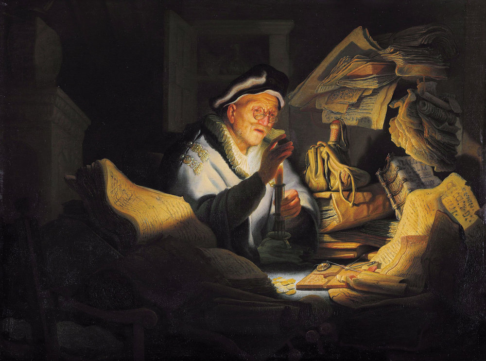 The Parable of the Rich Fool  by  Rembrandt , 1627.