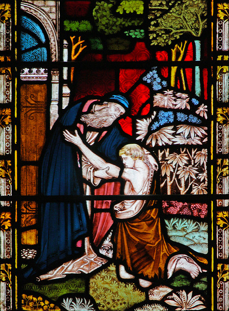 Return of the Prodigal Son. This window is in the church of St Mary Abbott, in Kensington, London.