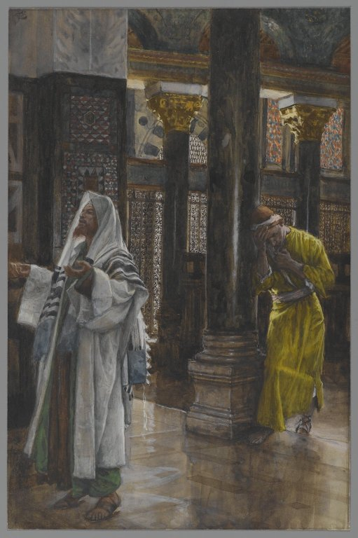 The Pharisee and the Publican (Le pharisien et le publicain) by James Tissot, 1886-94, Opaque watercolor over graphite on gray wove paper, Brooklyn Museum