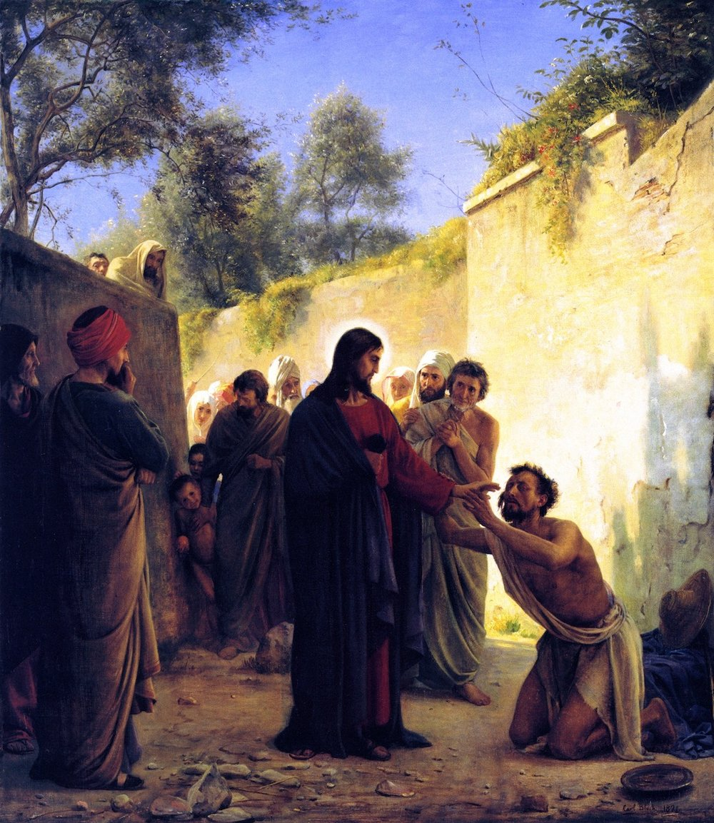 """Faithful reproduction of the painting """"Healing of the Blind Man"""" (1871); Carl Bloch. Bible references: Mark 10:46-52, Luke 18:35-42."""