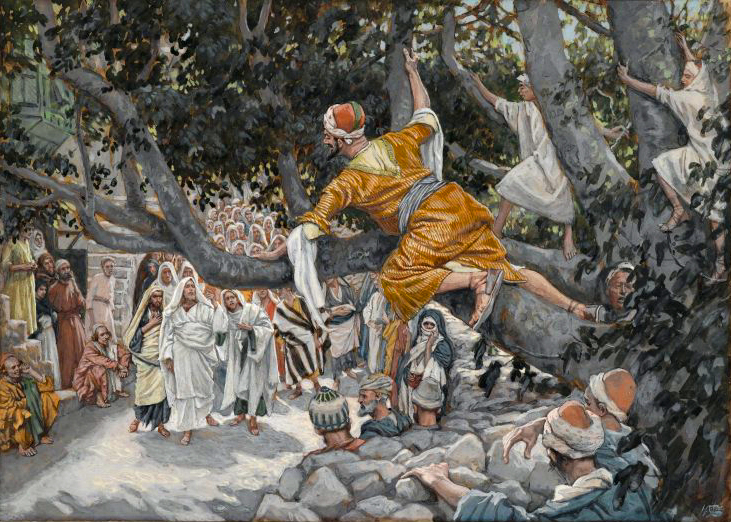 James Tissot   (1836–1902)  Zachée sur le sycomore attendant le passage de Jésus.  English:  Zacchaeus in the Sycamore Awaiting the Passage of Jesus