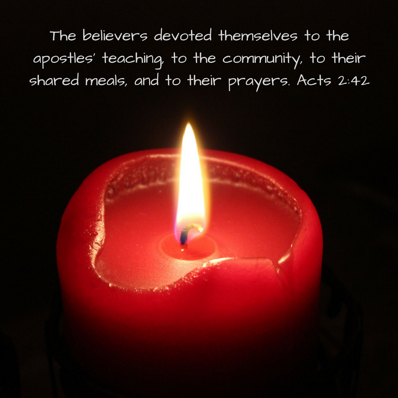 The believers devoted themselves to the apostles' teaching, to the community, to their shared meals, and to their prayers..png