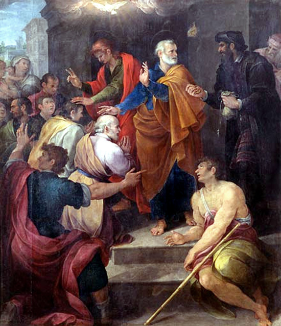 Peter's conflict with Simon Magus  by  Avanzino Nucci , 1620. Simon is on the right, dressed in black.