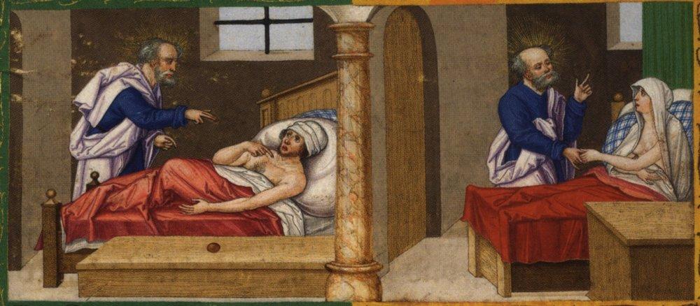 St. Peter heals Aeneas / St. Peter raised Tabitha from the dead, Act 5:12-18 1530-1532, Matthias Gerung (1500–1570)