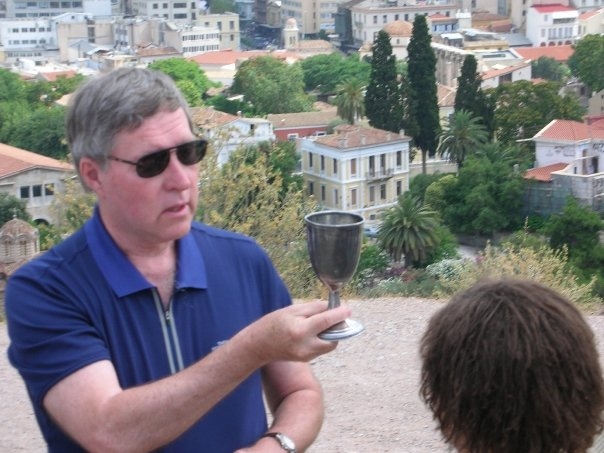Communion on Mars Hill, where Paul preached to the Athenians. Photo credit: Meg Wagner, used with permission