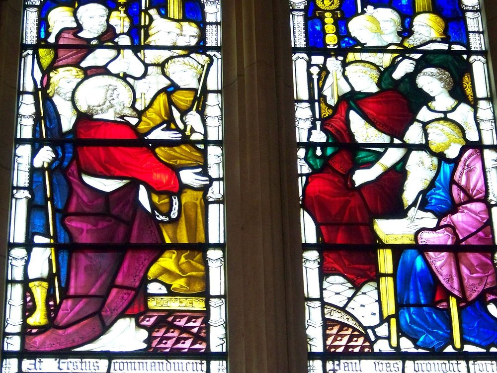 Stained glass window in St Paul's Cathedral, Melbourne, depicting a scene from the Book of Acts with St. Paul, Porcius Festus, Agrippa and Berenice