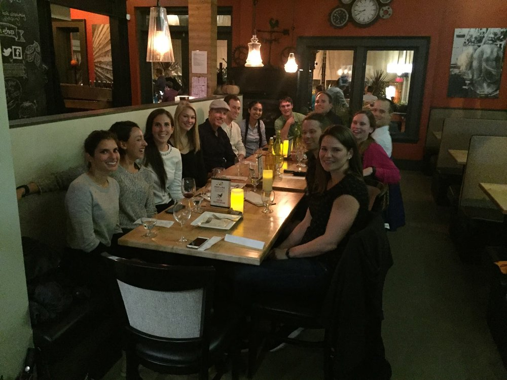 SFU faculty, graduate students, and colleagues out for dinner in Victoria, CSEP 2016