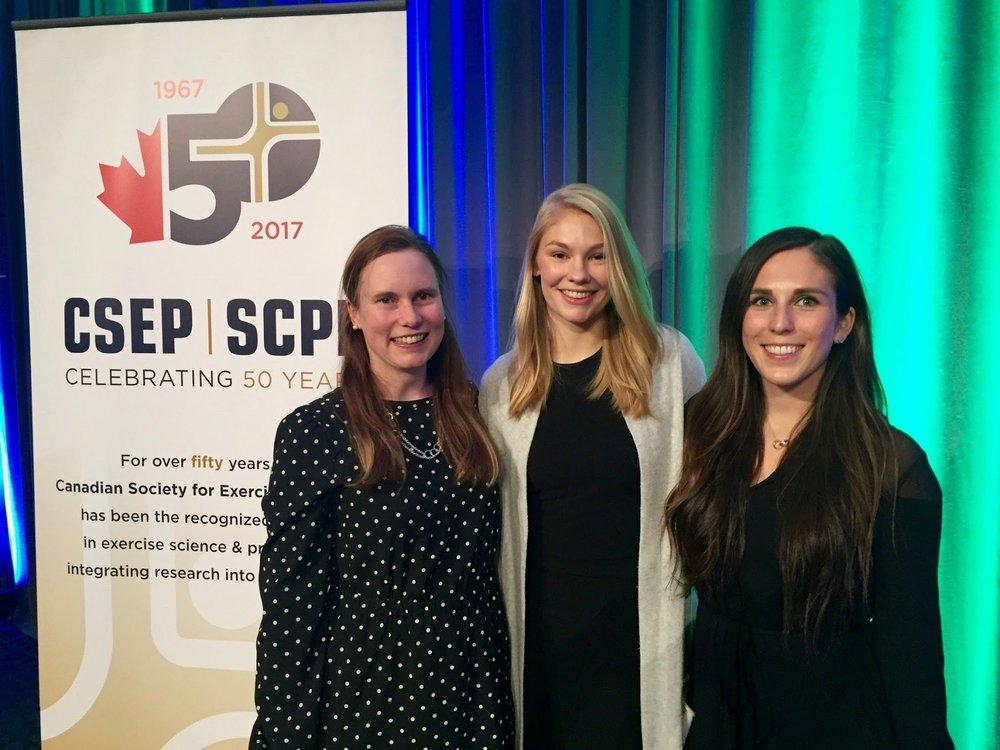 Dawn, Kristina, and Stephanie enjoying the awards dinner, CSEP 2016