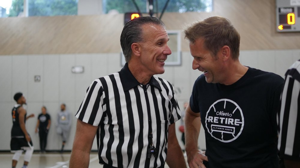 Sharing a laugh with NBA official Kenny Mauer (also a sports entrepreneur!) at the Ultimate Hoops National Championship event in New York City last August.