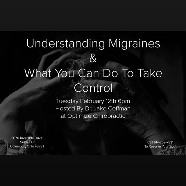 🧠🧠🧠 Tonight is the night! Migraines are complicated come learn from Dr. Jake.  Join us Tonight at 6pm as we cover. ✅Common Migraine Triggers ✅Affective & Ineffective Treatments ✅When Chiropractic Care is and ❌isn't helpful ✅Medications Pros and Cons ✅Mechanisms behind migraines  Leave with👇🏼 ▪️A better understanding of migraines ▪️A plan you can put into place  Call 614-769-7831 to reserve your spot . . . . . . . . . . . . . . . #migrainerelief #migraines #migrainessuck #migrainesupport #datadrivenchiro #optimalstructure #health #prevention #performance #autonomicmodulation #614living #614 #cbus #cbusgram #columbus #optimizechiropractic #upperarlington #grandview #marblecliff #relief #optimizecbus #chronicpain #fibromyalgia #headaches #headachessuck