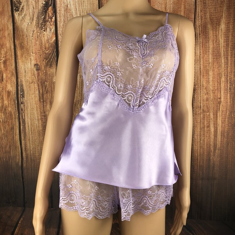 Medium - Option 1 - This lavender lace cami set is sweet and sexy. It features a scalloped lace neckline and matching lace cheeky shorts with side slits.
