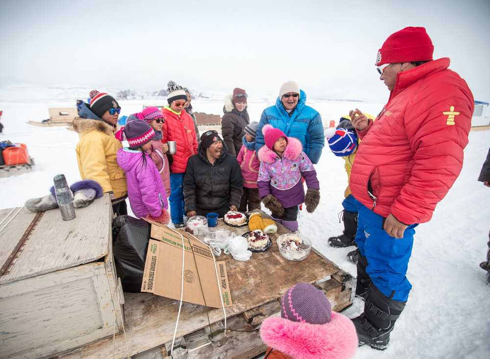 A rest stop on the sea ice, where we celebrated Samson's birthday with cake and tea, served off the back of the qamutik.