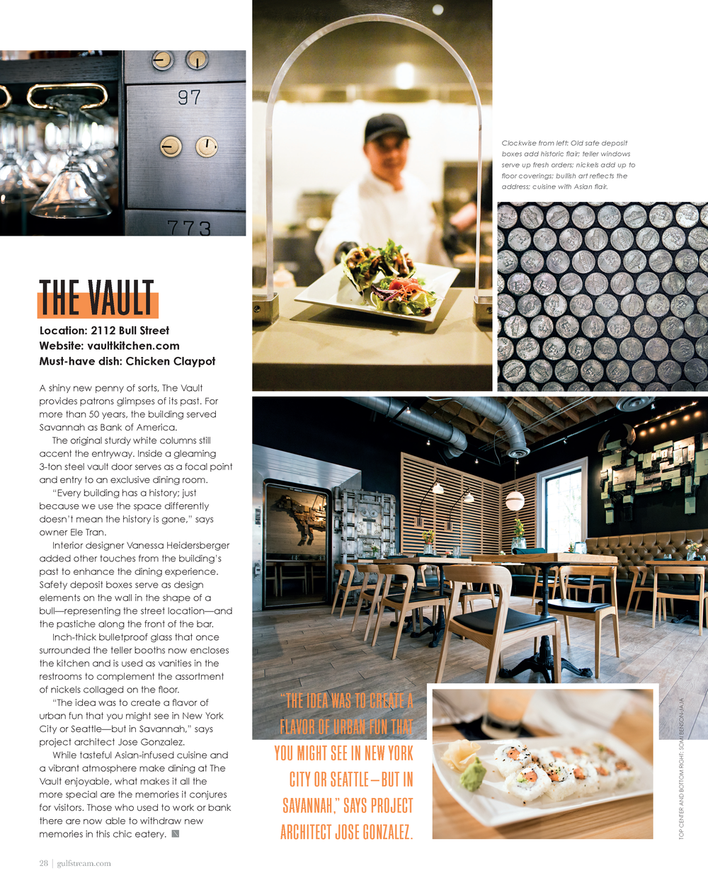 The Vault Kitchen and Market featured in Gulfstream's Nonstop Magazine