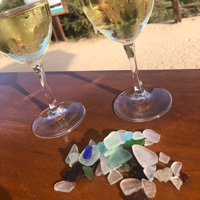 Seaglass success! Cheers to a lovely afternoon!!