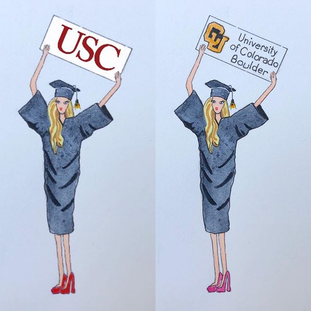 Looking for a fun idea for a grad gift? I can switch up school name, hair color and length. Thank you cards and announcements. DM me for a price quote! . . . . #graduation, #graduation gifts, #graduation announcement, #USC, #CU Boulder