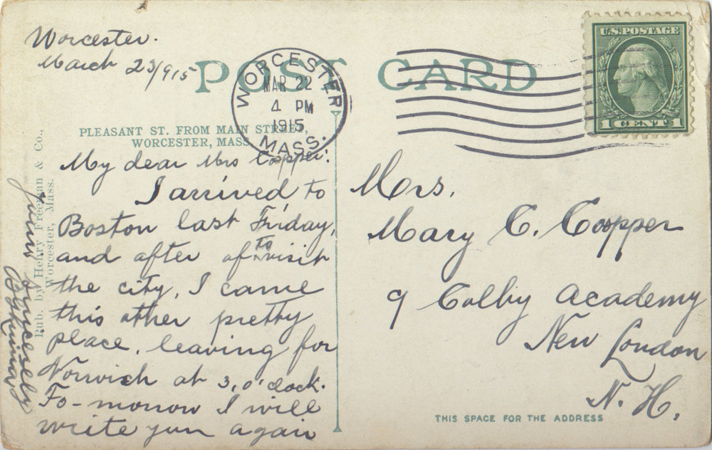 Postmark: 03/22/1915 - Worcester, MA