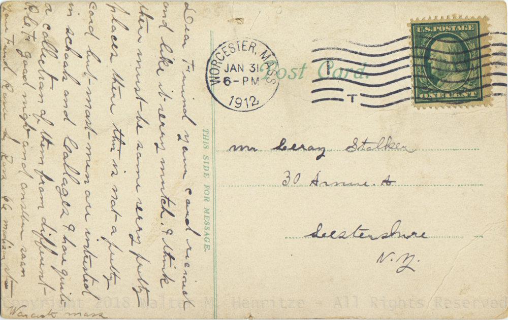 Postmark: 01/31/1912 - Worcester, MA