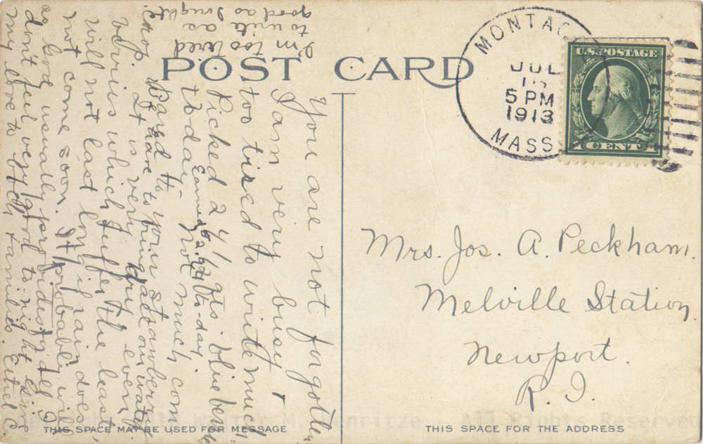 Postmark: 07/15/1913 - Montague, MA