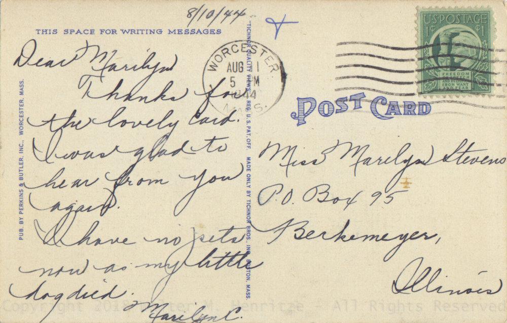 Postmark: 08/11/1944 - Worcester Mass.