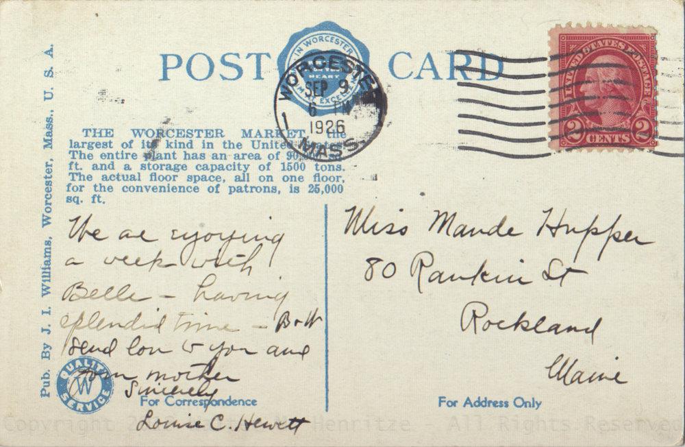 Postmark: 09/09/1926 - Worcester Mass.
