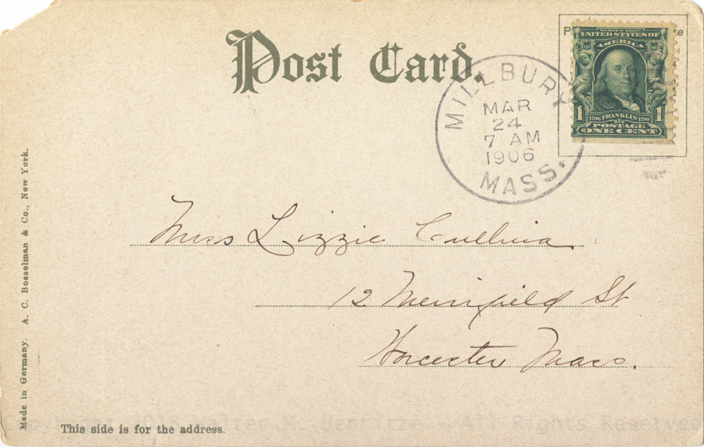 Postmark: 03/24/1906 - Millbury Mass.