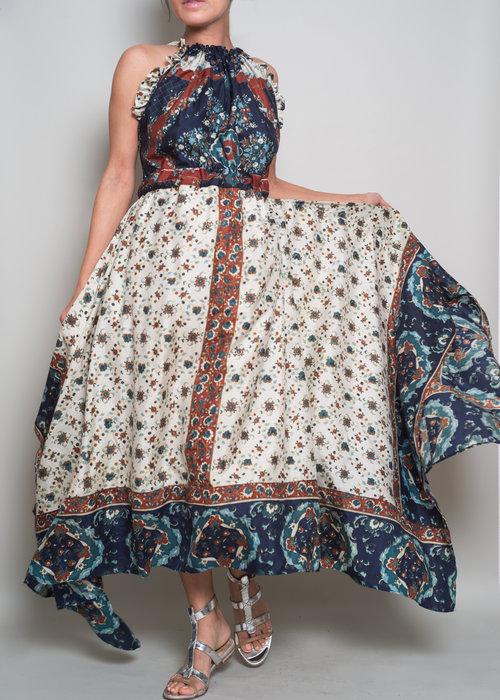 Helene Dress in Blue Border — Le Marie 2f283dd40