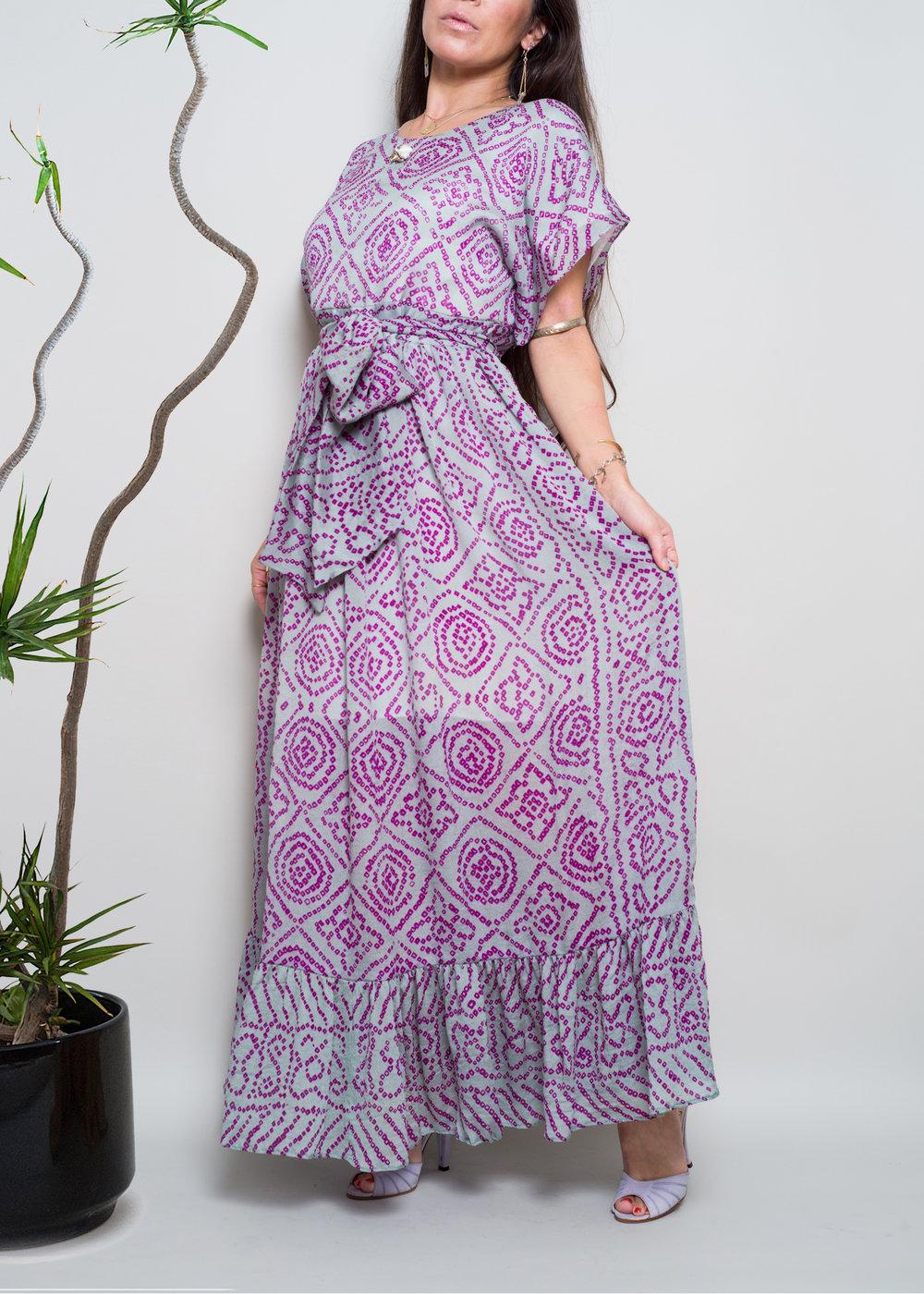 Vintage Indian Silk Sari Chiffon dolman maxi dress
