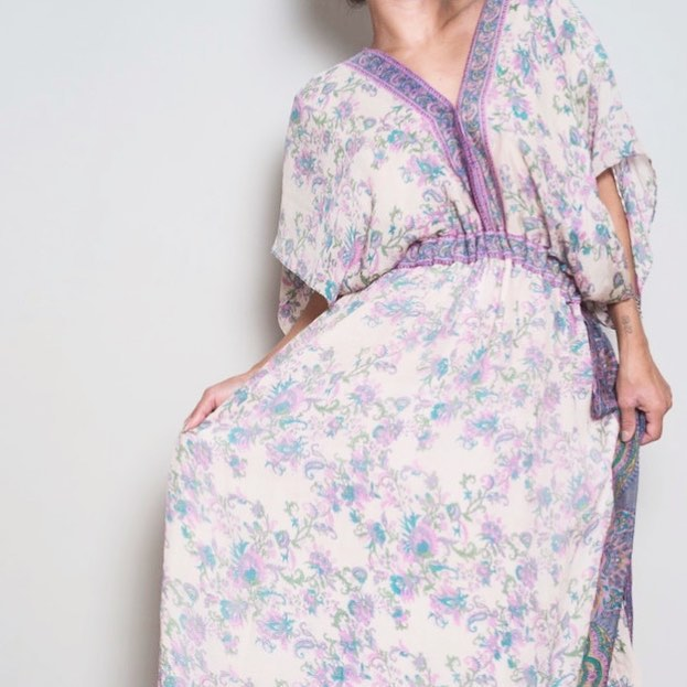 I loved how this gorgeous silk sari print looked in the Giorgia drawstring caftan dress. Searching for more similar pastel florals for spring! __________________________________________________________ Le Marie Collection individually sources beautiful vintage textiles from around the world and recreates them into one of a kind and custom vintage inspired dresses and sets. Our process is completely waste free and hand made, staying true to standards of sustainable, slow fashion. #romantics #bohemianluxe #bohemian #boho #bohochic #gypsy #kaftans#caftans #slowly I fashion #bespoke #greenliving #vintagefabrics #silk #sari#sustainablefashiton #sustainablestyle #vintagetextiles #reclaim #reuse #recycle #notjustaprettydress#pastels