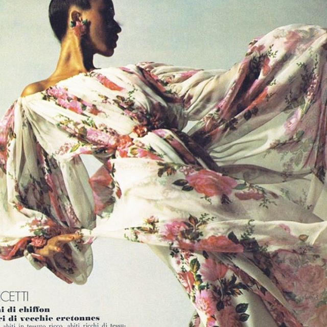 Pat Cleveland in Lancetti, 1972 by Jean Jacques Bugat __________________________________________________________ Le Marie Collection individually sources beautiful vintage textiles from around the world and recreates them into one of a kind and custom vintage inspired dresses and sets. Our process is completely waste free and hand made, staying true to standards of sustainable, slow fashion. #romantics #bohemianluxe #bohemian #boho #bohochic #gypsy #kaftans#caftans #slow fashion #bespoke #greenliving #vintagefabrics #sustainablefashiton #sustainablestyle #vintagetextiles #reclaim #reuse #recycle #notjustaprettydress#floral#1970s#70svintage#patcleveleand